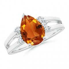 Pear Citrine Ring with Triple Diamond Accents
