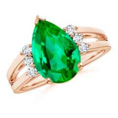 GIA Certified Emerald Ring with Triple Diamond Accents
