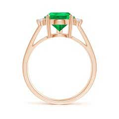 Toggle GIA Certified Emerald Ring with Triple Diamond Accents
