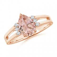 Split Shank Pear Morganite Solitaire Ring with Diamonds