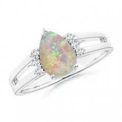 Angara Tapered Shank Opal Solitaire Ring with Diamond Accents