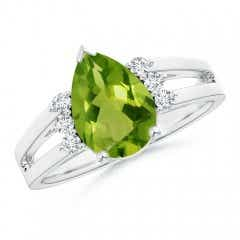 Pear Peridot Ring with Triple Diamond Accents