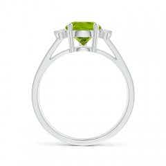 Toggle Pear Peridot Ring with Triple Diamond Accents