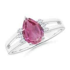 Pear Pink Tourmaline Ring with Triple Diamond Accents