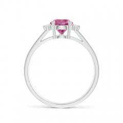 Toggle Pear Pink Tourmaline Ring with Triple Diamond Accents