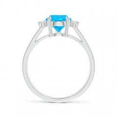 Toggle Pear Swiss Blue Topaz Ring with Triple Diamond Accents