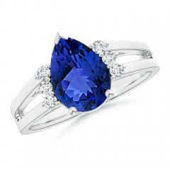 Pear Tanzanite Ring with Triple Diamond Accents