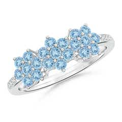 Classic Triple Flower Aquamarine Ring with Diamond Accents