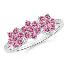 Classic Triple Flower Pink Tourmaline Ring with Diamonds