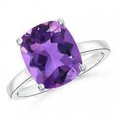 Classic Cushion Cut Amethyst Solitaire Engagement Ring