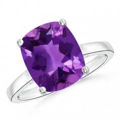 Classic Cushion Amethyst Solitaire Ring