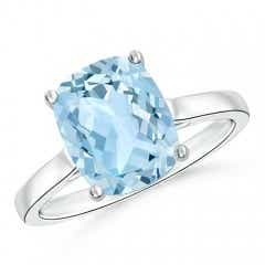 Classic Cushion Cut Aquamarine Solitaire Engagement Ring