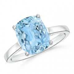 Classic Cushion Aquamarine Solitaire Ring