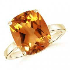 Classic Cushion Citrine Solitaire Ring