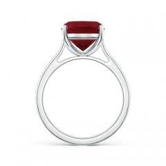 Classic Cushion Cut Garnet Solitaire Engagement Ring