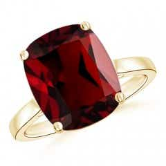 Classic Cushion Garnet Solitaire Ring