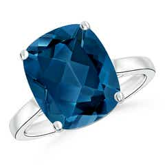 Classic Cushion London Blue Topaz Solitaire Ring