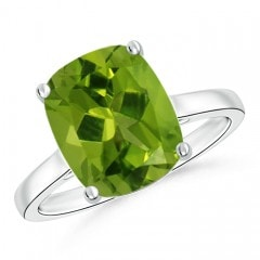 Classic Cushion Peridot Solitaire Ring