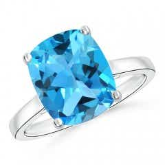 Classic Cushion Cut Swiss Blue Topaz Solitaire Engagement Ring