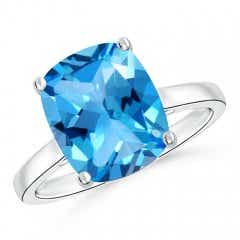 Classic Cushion Swiss Blue Topaz Solitaire Ring
