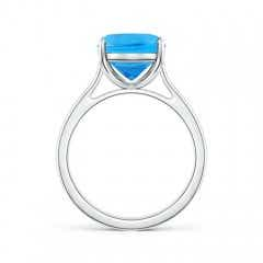 Toggle Classic Cushion Swiss Blue Topaz Solitaire Ring