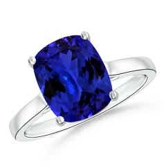 Classic GIA Certified Cushion Tanzanite Solitaire Ring