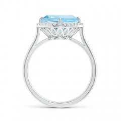 Toggle Claw-Set Cushion Aquamarine Cocktail Ring with Halo