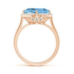 Toggle Claw-Set Cushion Aquamarine Cocktail Halo Ring