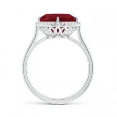 Cushion Cut Garnet Statement Ring with Diamond Halo