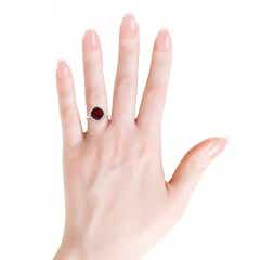 Cushion Cut Garnet Statement Ring with Diamond Halo