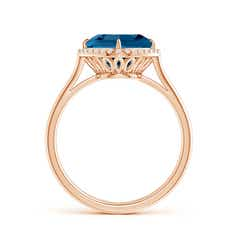 Toggle Claw-Set Cushion London Blue Topaz Cocktail Halo Ring