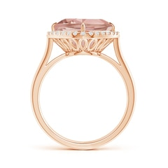 Toggle Claw-Set Cushion Morganite Cocktail Halo Ring