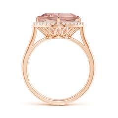 Cushion Morganite Cocktail Ring with Diamond Halo