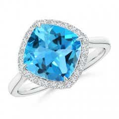 Claw-Set Cushion Swiss Blue Topaz Cocktail Halo Ring
