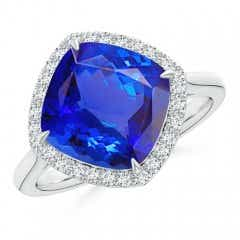 Claw-Set Cushion Tanzanite Cocktail Halo Ring