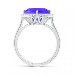 Toggle Claw-Set Cushion Tanzanite Cocktail Halo Ring