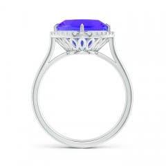 Toggle Claw-Set Cushion Tanzanite Cocktail Halo Ring