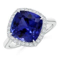 Sideways Tanzanite Halo Ring (GIA Certified Tanzanite)