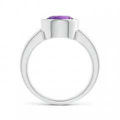 Toggle Bezel-Set Round Amethyst Solitaire Engagement Ring
