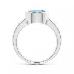Toggle Bezel-Set Round Aquamarine Solitaire Engagement Ring