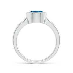 Toggle Bezel-Set Round London Blue Topaz Solitaire Engagement Ring