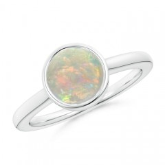 Bezel-Set Round Opal Solitaire Engagement Ring