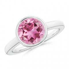 Bezel-Set Round Pink Tourmaline Solitaire Engagement Ring
