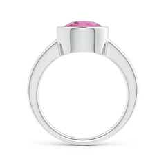 Toggle Bezel-Set Round Pink Tourmaline Solitaire Engagement Ring