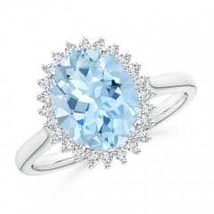 Diamond Halo Vintage Oval Aquamarine Cocktail Ring
