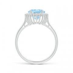 Toggle Classic Oval Aquamarine Floral Halo Ring