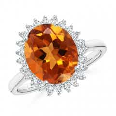 Diamond Halo Vintage Oval Citrine Cocktail Ring