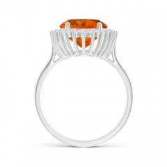 Toggle Classic Oval Citrine Floral Halo Ring