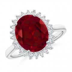 Angara Diamond Halo Double Claw Cushion Garnet Vintage Ring Platinum 0Y142F