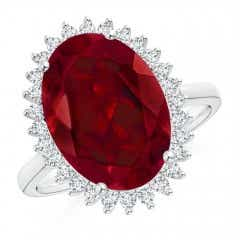 Classic Oval Garnet Floral Halo Ring